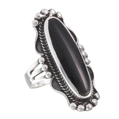 Sterling Silver Long Oval Onyx Ring