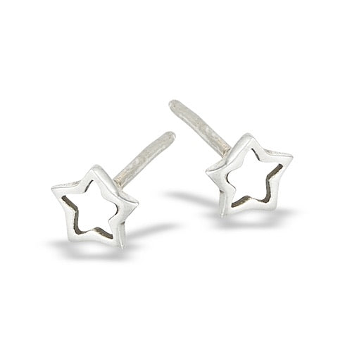 Sterling Silver Open Star Studs