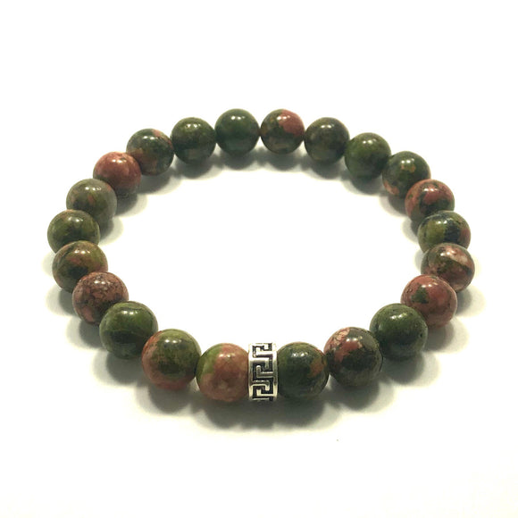 James Charlie Jewelry Sterling Silver Brazilian Unakite Stretch Bracelet