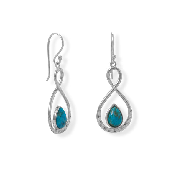 Sterling Silver Hammered Turquoise Drop Earrings