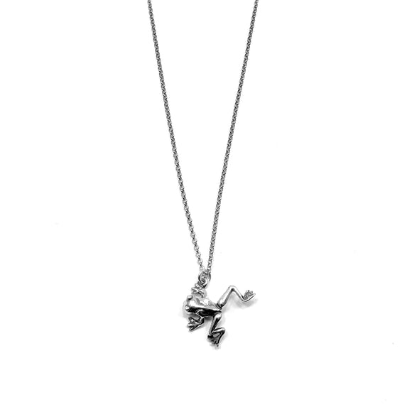 Sterling Silver Frog Charm Necklace