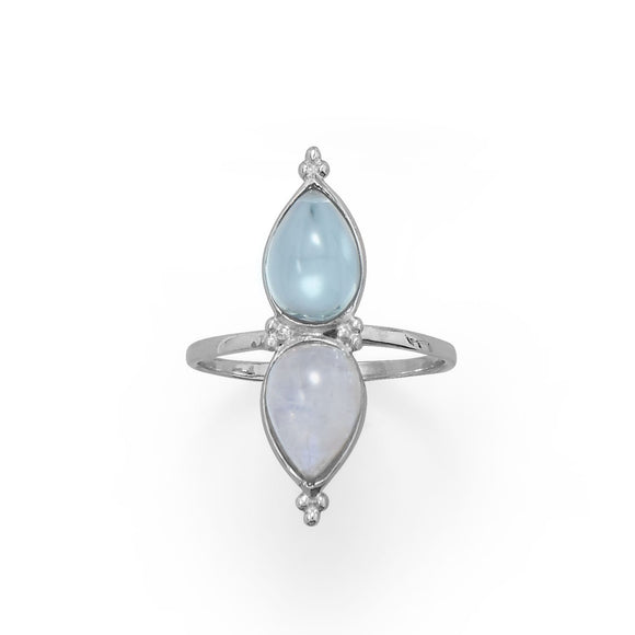 Sterling Silver High Quality Blue Topaz and Moonstone Ring