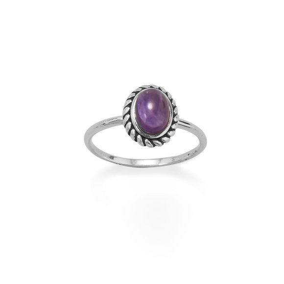 Sterling Silver Oval Rope Amethyst Ring