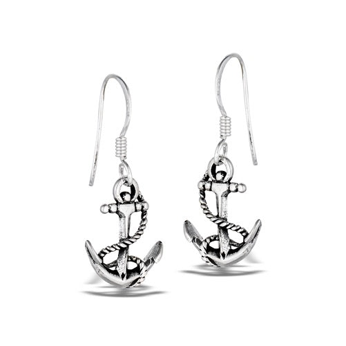 Sterling Silver Anchor with Rope Earrings