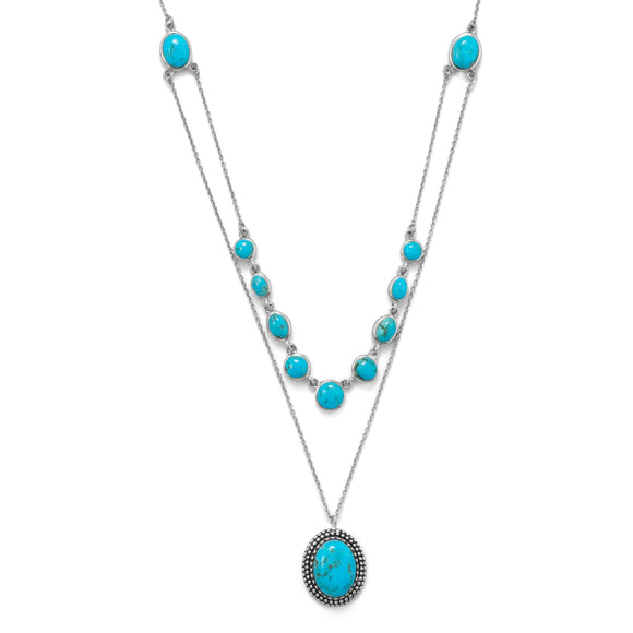Sterling Silver Double Row Turquoise Necklace