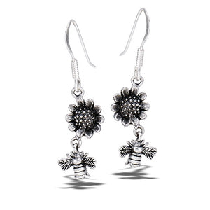 Sterling Silver Dangle Bee and Sunflower Earrings
