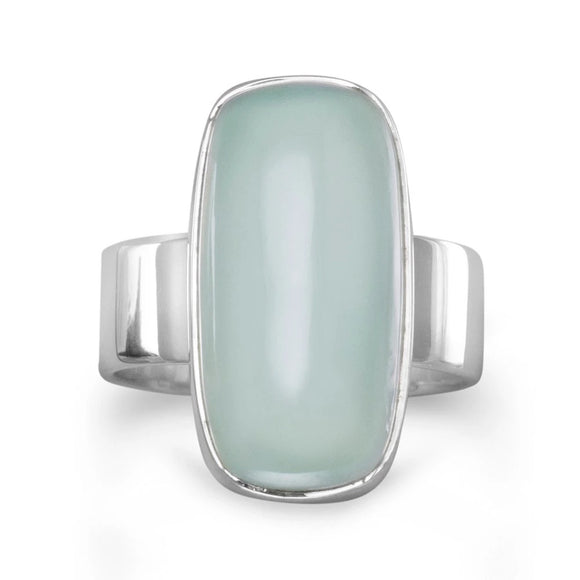 Sterling Silver Square Chalcedony Ring