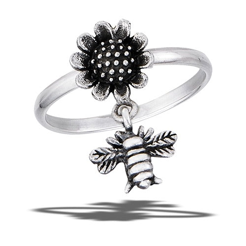 Dangle Bee and Sunflower Ring