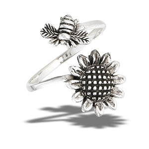 Sterling Silver Adjustable Sunflower and Bee Ring