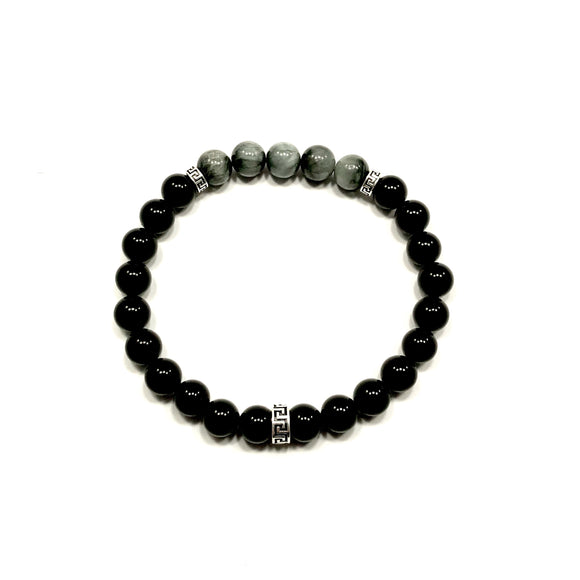 Greek Key Hawks Eye and Onyx Bracelet