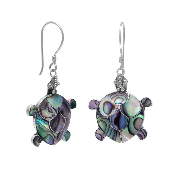 Sterling Silver Abalone Turtle Earrings