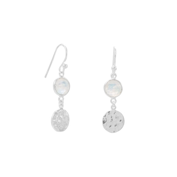 Sterling Silver Hammered Moonstone Earrings