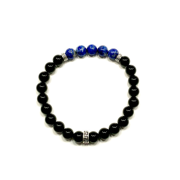 Greek Key Lapis Lazuli and Onyx Bracelet