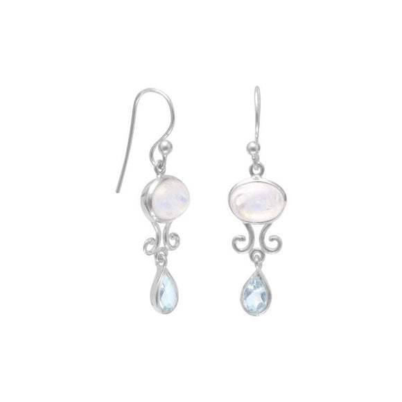 Sterling Silver Moonstone & Blue Topaz Earrings