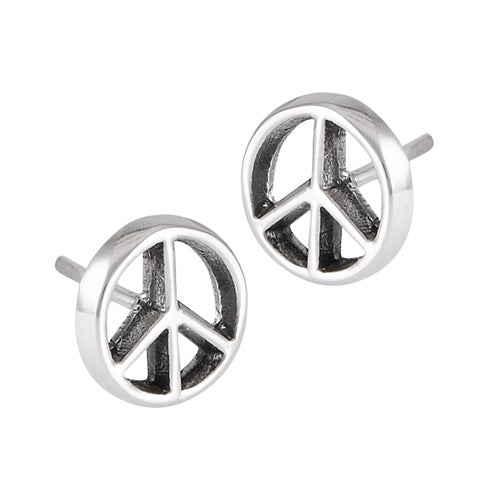 Sterling Silver Peace Symbol Studs