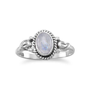 Sterling Silver Rope Design Moonstone Ring