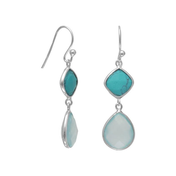 Sterling Silver Chalcedony and Turquoise Earrings
