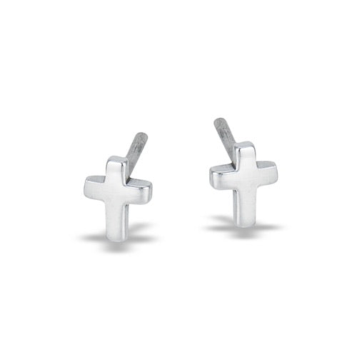 Sterling Silver Small Cross Studs