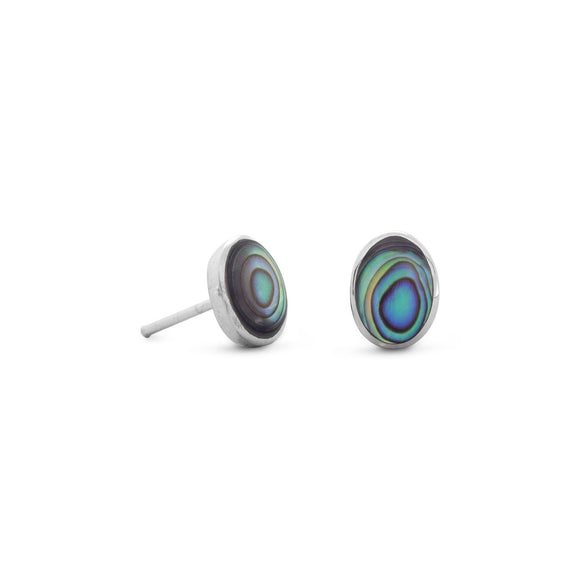 Sterling Silver Oval Abalone Shell Studs