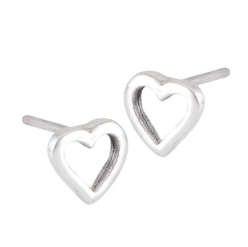 Sterling Silver Open Heart Studs