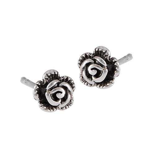 Sterling Silver Small Rose Studs
