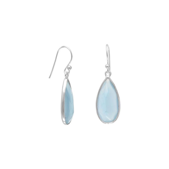 Sterling Silver Light Blue Chalcedony Drop Earrings