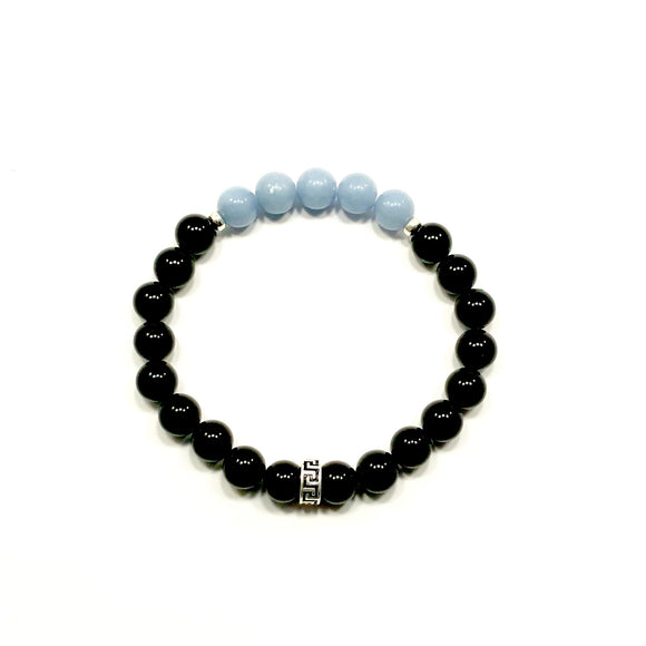 Greek Key Angelite and Onyx Bracelet