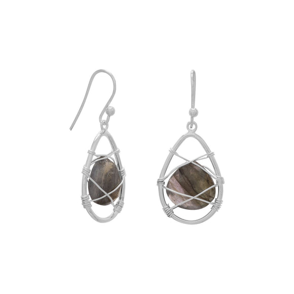 Sterling Silver Wrapped Labradorite Earrings