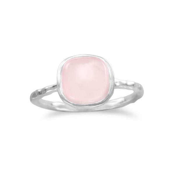 Sterling Silver Square Rose Quartz Ring