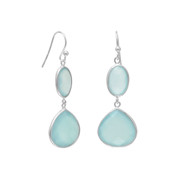 Sterling Silver Sea Foam Green Drop Chalcedony Earrings