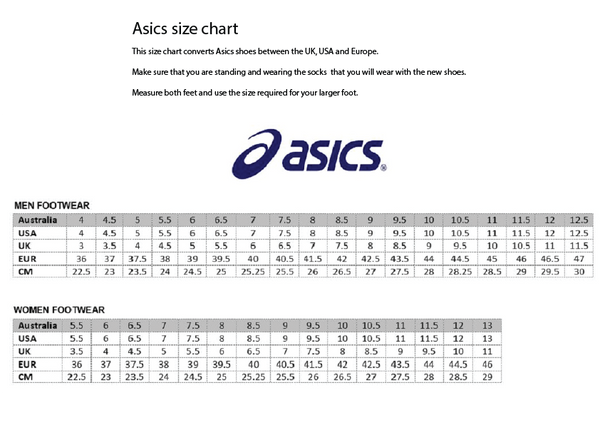 Asics shoes size guide