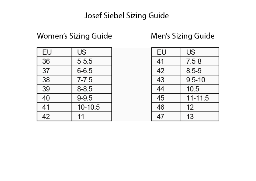 Josef Siebel Sizing Guide
