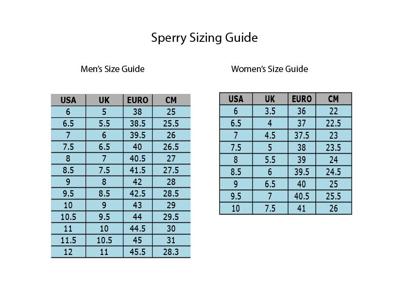 Sperry Sizing Guide