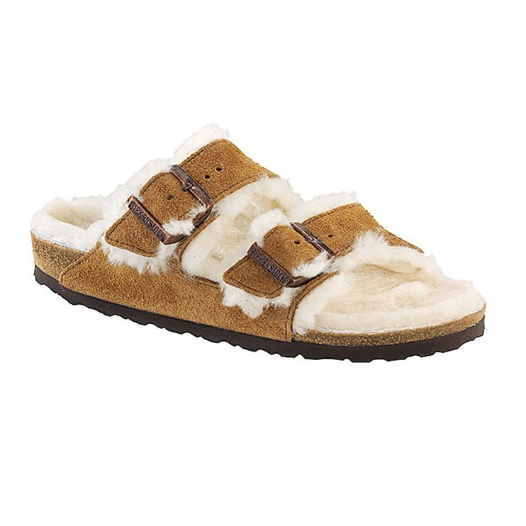 Arizona Shearling Suede Leather (Regular Width) Mink Sandals Birkenstock