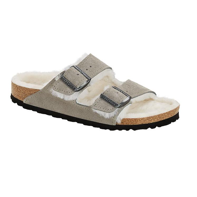 Arizona Shearling Suede Leather (Regular Width) Stone Coin Sandals Birkenstock