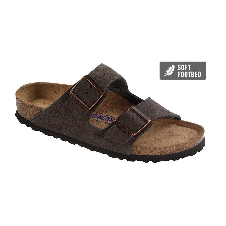 Arizona Suede Leather SFB (Regular width) Mocca Slides Birkenstock