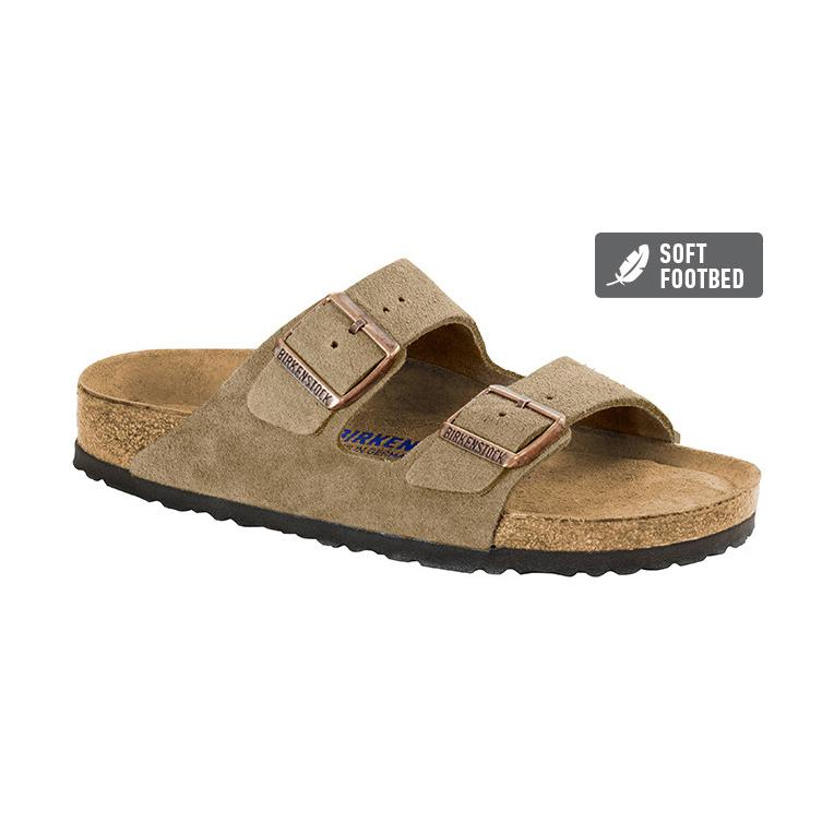 Arizona Suede Leather SFB (Regular width) Taupe Slides Birkenstock