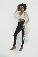 Load image into Gallery viewer, Holographic leaflet sequin  bell sleeve kimono with white embroidery