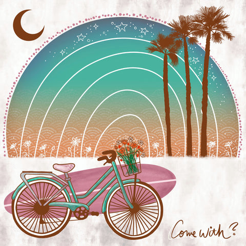 Bike with surfboard at the beach illustration