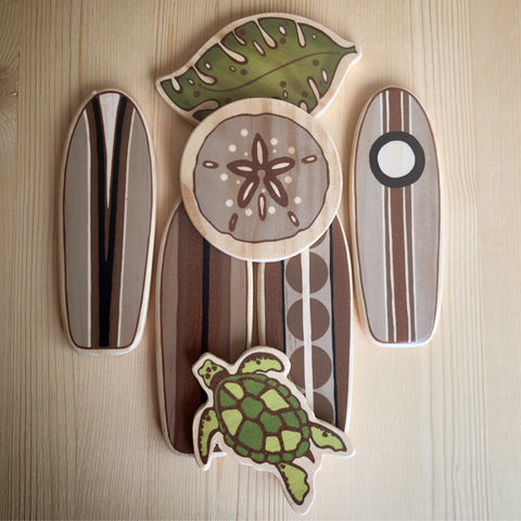 Hanging surfboard baby mobile surf themed baby room nursery