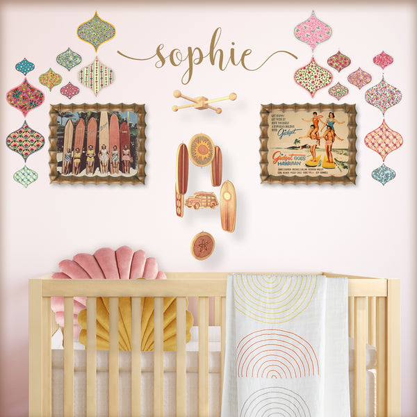 boho beach baby girl nursery in pink