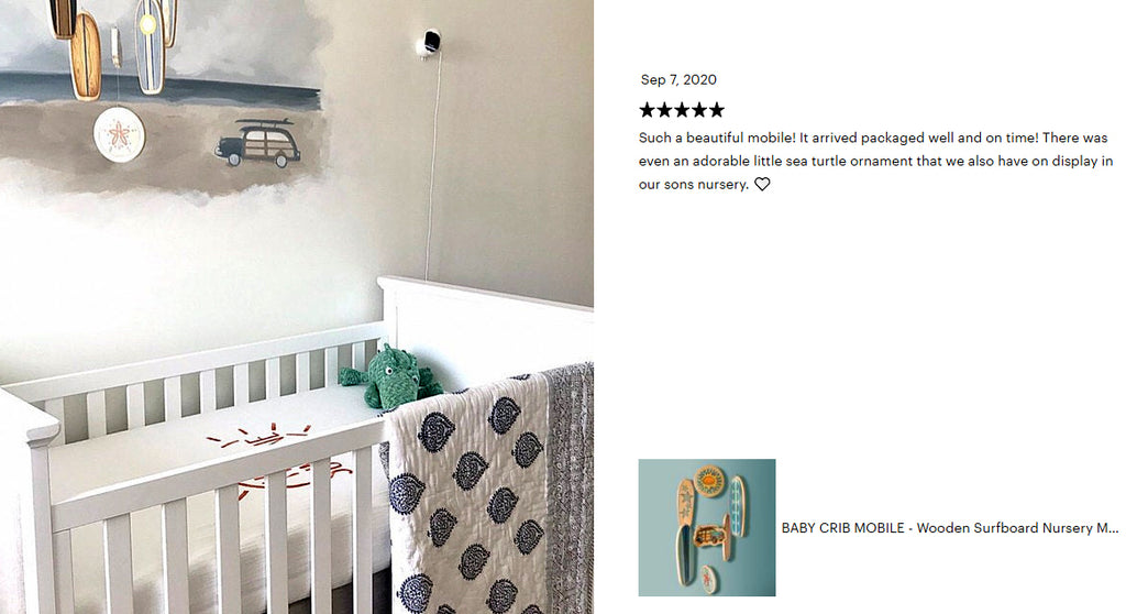 five star review custom surfboard baby mobile