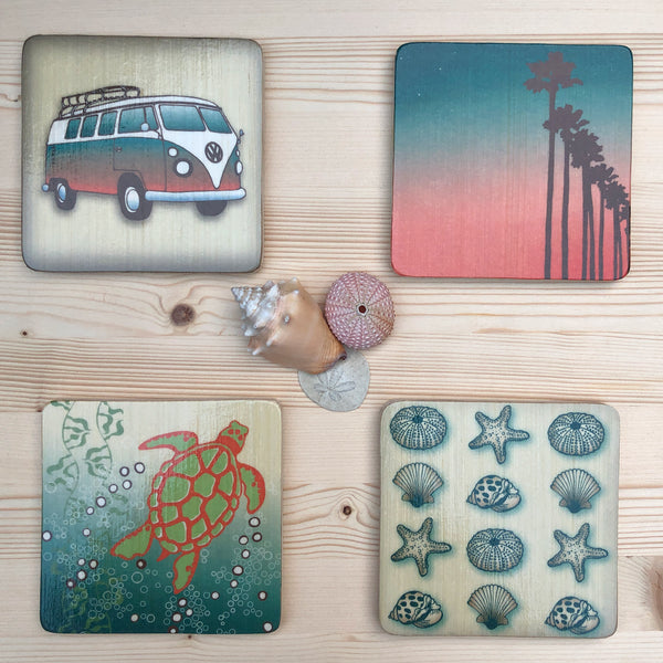 wood block artwork set with vintage volkswagon, palms, sea turtle and shells