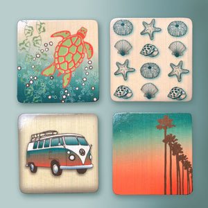 wood block art set for a beach themed decor