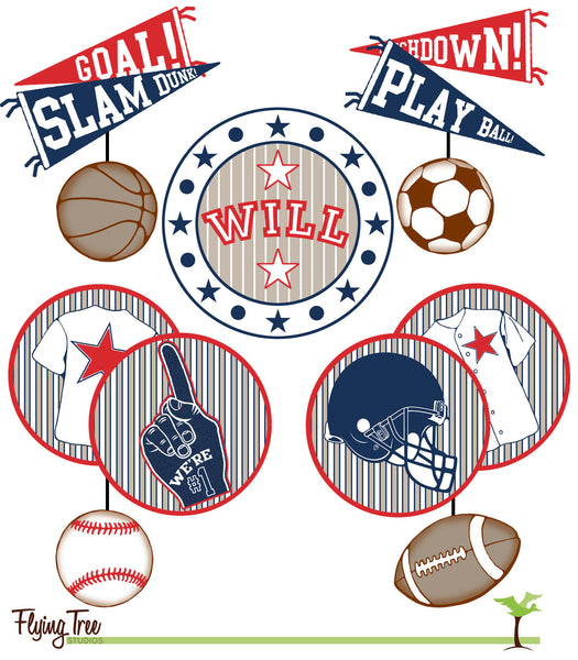 fun baby mobile for a sports themed baby room with a vintage feel