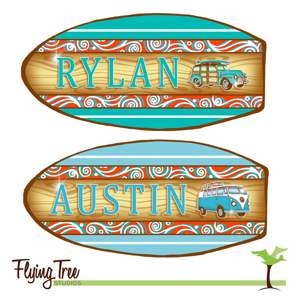 Pair of Matching Surfboard Name Signs