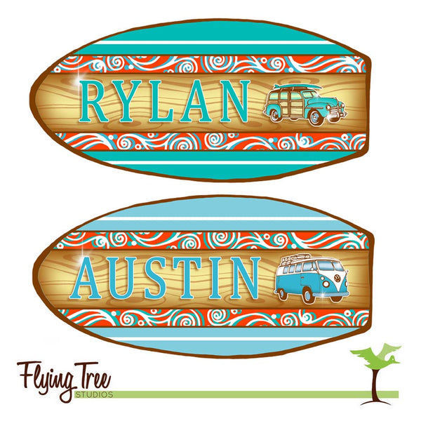 Pair of Matching Personalized Surfboard Nameplates
