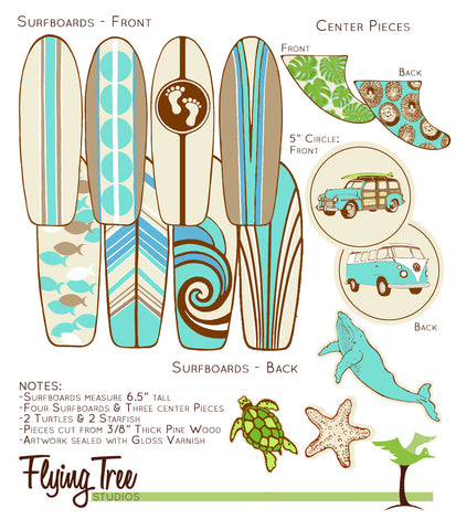 Custom Design for Daniela - Wooden Surfboard Baby Nursery Mobile