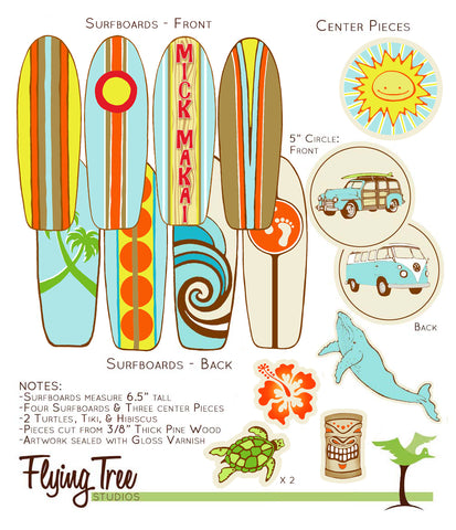 Custom Design for Risa - Wooden Surfboard Baby Nursery Mobile
