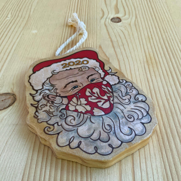 pandemic holiday ornament santa in face mask 2020